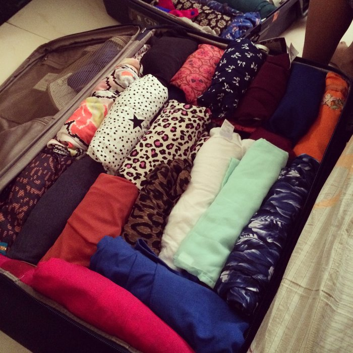 Packed suitcase.