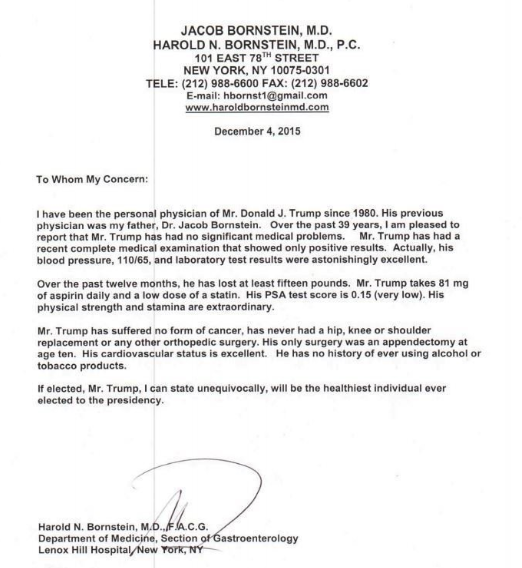 Donald Trump medical letter