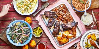 Table full of BBQ food