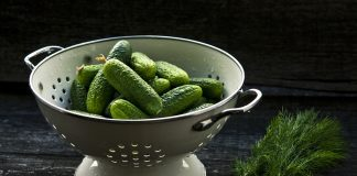 Colander Cucumber Herbs Fruits Food Pickles