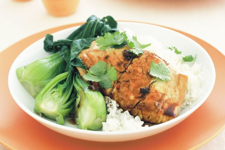 salmon with rice and bok choy