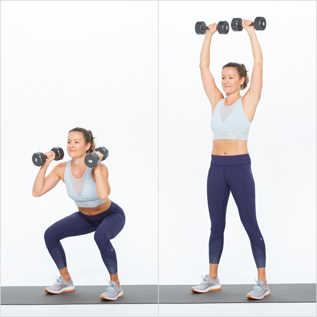 Woman doing squat and press